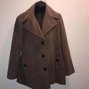 CALVIN KLEIN Single Breasted Wool Coat~sz 12~OAT